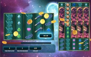 Screenshot image of the free spins bonus in Lunaris slots