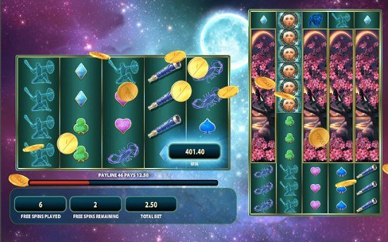 Screenshot image of the free spins bonus in Lunaris slots