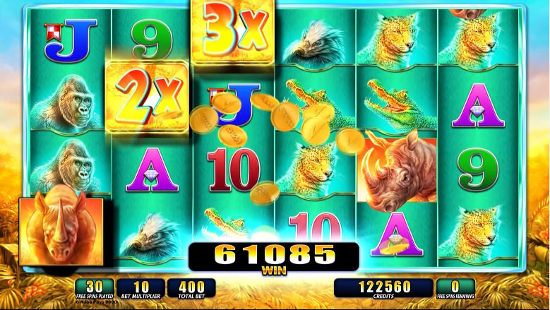 Screenshot image of the Raging Rhino slot game
