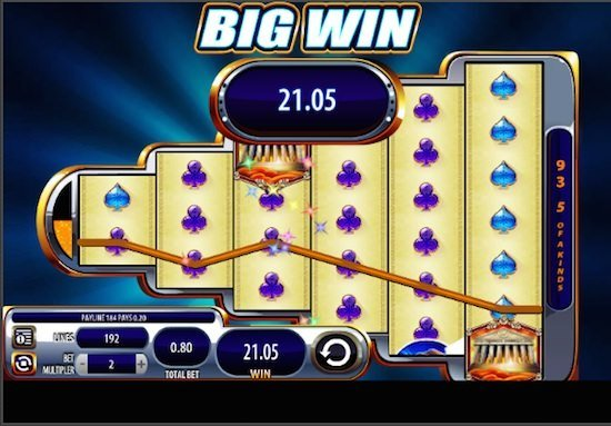 Screenshot image of a big win playing Zeus 3 slots