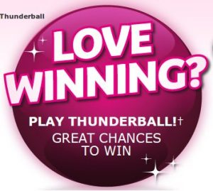 Image graphic for the How to play Thunderball lottery online guide. The text reads: Love winning? Play Thunderball! Great chances to win.