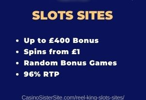 """Banner image for the Reel King slots sites showing the game's logo and the text: """"Reel King slots sites. Up to £400 bonus. Spins from £1. Random bonus games. 96% RTP"""""""