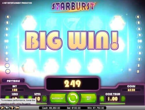Starburst slot game showing a big win