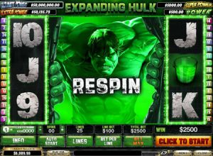 Screenshot image of the Hulk bonus game