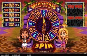 Winstones slot game showing free spins being awarded