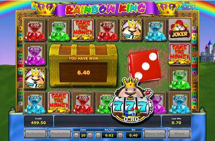 Screenshot image of Rainbow King bonus game won