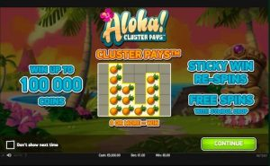 Screenshot image of Aloha Cluster slot game welcome screen