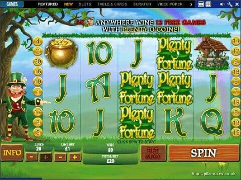 Screenshot image of Plenty O fortune slots game Wild reel