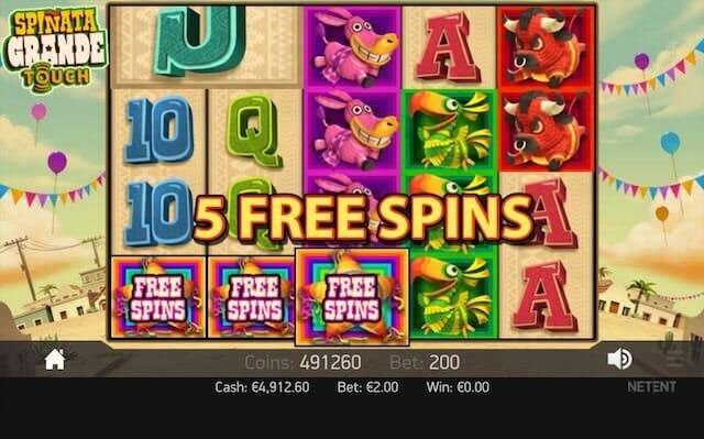 Screenshot image of Spinata Grande slots playing 5 free spins