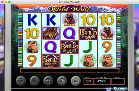 Screenshot image of Wild Wolf slot bonus activated