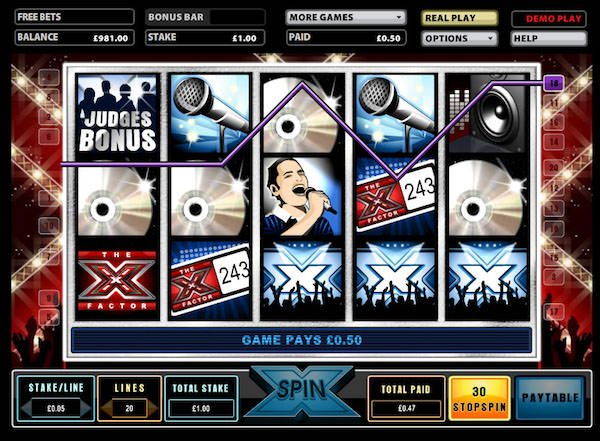 X Factor slots screenshot image
