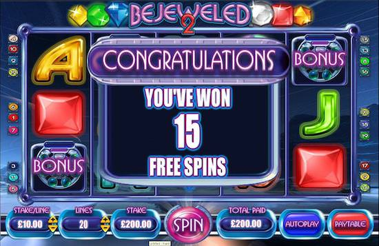 screenshot image of bejeweled 2 slots free spins