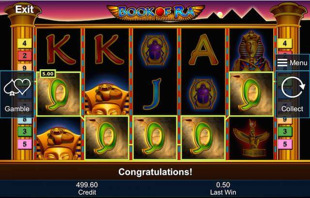 Screenshot image of the Book of Ra slots five of a kind winning combo