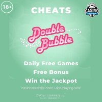 Double Bubble Cheats review banner showing the game's logo and the text: Daily free games, free bonus, win the jackpot.""