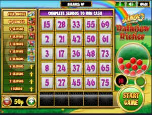 Image for the Slingo Rainbow Riches slots sites review article showing a screenshot of the game in action