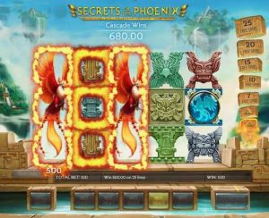 Screenshot image of the Secret of the Phoenix slot showing a win using the Cascading Wilds feature