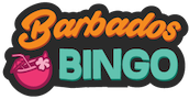 Barbados Bingo Logotype Barbados is displayed in script font and orange color. The Word Bingo is shown below on Caps and Green color a pink coconut with a flower and an umbrella is displayed in the bottom left corner. Black outline circles the logo.