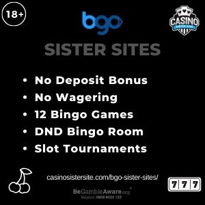 """Featured image for the BGO sister sites article showing the brand's logo and the text: """"No Deposit Bonus. No Wagering. 12 Bingo Games. DND Bingo Room. Slot Tournaments."""""""
