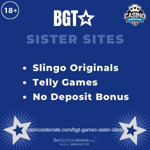 "Featured image for the BGT Games sister sites article showing the brand's logo and the text: ""Slingo Originals. Telly Games. No Deposit Bonus."""