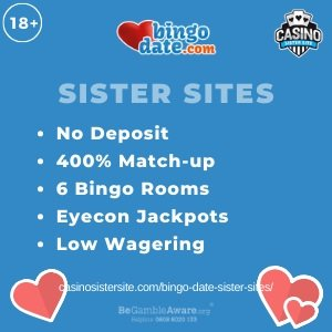 """Featured image for the Bingo Date sister sites article showing the brand's logo and the text: """"No Deposit. 400% Match-up. 6 Bingo Rooms. Eyecon Jackpots. Low Wagering."""""""