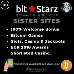 "Featured image of the BitStarz casino sister sites review showing the casino's logo and the text: ""100% welcome bonus, bitcoin games, slots, casino and jackpots, EGR 2018 awardsa shorlisted casino"""