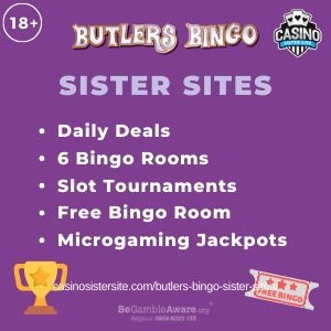 "Featured image for the Butlers Bingo sister sites article showing the brand's logo and the text: ""Daily Deals. 6 Bingo Rooms. Slot Tournaments. Free Bingo Room. Microgaming Jackpots."""