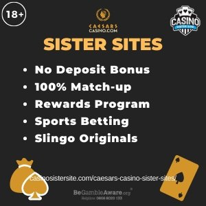 "Featured image for the sister sites article showing the brand's logo and the text: ""No Deposit Bonus. 100% Match-up. Rewards Program. Sports Betting. Slingo Originals."""