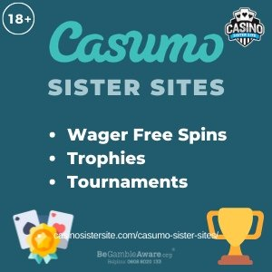 "Featured image for the Casumo sister sites article showing the brand's logo and the text: ""Wager Free Spins. Trophies. Tournaments."""