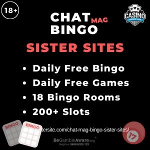 "Featured image for the Chat Mag Bingo sister sites article showing the brand's logo and the text: ""Daily Free Bingo. Daily Free Games. 18 Bingo Rooms. 200+ Slots."""