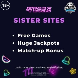 "Featured image for the Dr Vegas sister sites article showing the brand's logo and the text: ""Free Games. Huge Jackpots. Match-up Bonus."""
