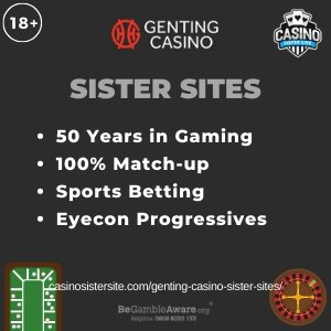 "Featured image for the Genting sister sites article showing the brand's logo and the text: ""50 Years in Gaming. 100% Match-up. Sports Betting. Eyecon Progressives."""
