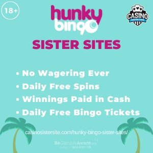 Featured image of the Hunky Bingo sister sites review showing the casino's logo and the text 'Sister Sites'. Below the text reads: no wagering ever, daily free spins, winnings paid in cash and daily free bingo tickets.