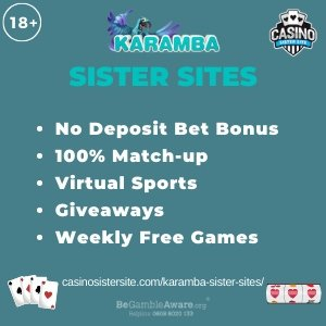 "Featured image for the Karamba sister sites article showing the brand's logo and the text: ""No Deposit Bet Bonus. 100% Match-up. Virtual Sports. Giveaways. Weekly Free Games."""