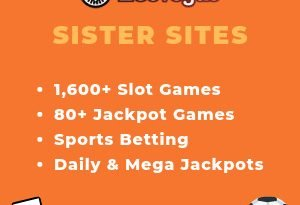 "Featured image for the Leo Vegas sister sites article showing the brand's logo and the text: ""1600+ Slot Games. 80+ Jackpot Games. Sports Betting. Daily & Mega Jackpots"""