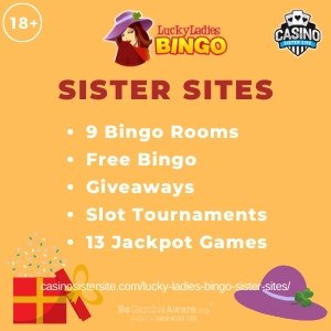"Featured image for the Lucky Ladies Bingo sister sites article showing the brand's logo and the text: ""9 Bingo Rooms. Free Bingo. Giveaways. SLot Tournaments. 13 Jackpot Games,"""