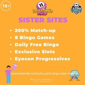 "Featured image for the Lucky Pants Bingo sister sites article showing the brand's logo and the text: ""200% Match-up. 8 Bingo Games. Daily Free Bingo. Exclusive Slots. Eyecon Progressives."""