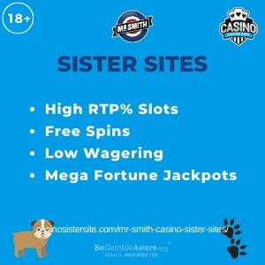 "Featured image for the Mr Smith sister sites article showing the brand's logo and the text: ""High RTP% Slots. Free Spins. Low Wagering. Mega Fortune Jackpots."""
