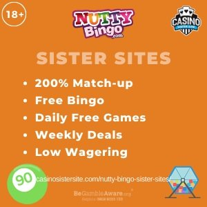 "Featured image for the Nutty bingo sister sites article showing the brand's logo and the text: ""200% Match-up. Free Bingo. Daily Free Games. Weekly Deals. Low Wagering. """