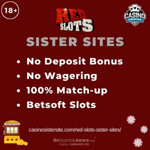 "Featured image for the sister sites article showing the brand's logo and the text: ""No Deposit Bonus. No Wagering. 100% Match-up. Betsoft Slots."""