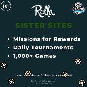 "Featured image for the Rolla Casino sister sites article showing the brand's logo and the text: ""Missions for Rewards. Daily Tournaments. 1000+ Games."""