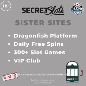"Featured image for the Secret Slots sister sites article showing the brand's logo and the text: ""Dragonfish Platform. Daily Free Spins. 300+ Slot Games. VIP Club."""