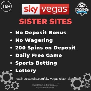 "Featured image for the Sky Vegas sister sites article showing the brand's logo and the text: ""No Deposit Bonus. No Wagering. 200 Spins on Deposit. Daily Free Game. Sports Betting. Lottery."""