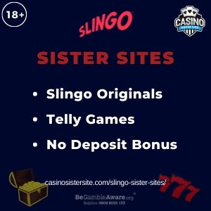 "Featured image for the sister sites article showing the brand's logo and the text: ""Slingo Originals. Telly Games. No Deposit Bonus."""
