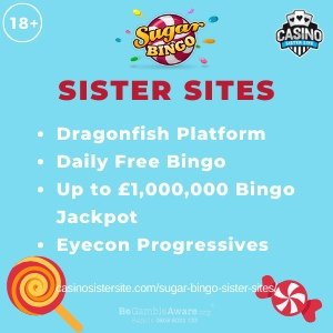 """Featured image for the Suger Bingo sister sites article showing the brand's logo and the text: """"Dragonfish Platform. Daily Free Bingo. Up to £1,000,000 Bingo Jackpot. Eyecon Progressives."""""""