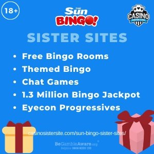 Sun Bingo sister sites square banner with Light blue background and the text: Free bingo rooms, themed bingo, chat games, 1.3 million bingo jackpots and eyecon progressives. the bottom left and right display the images of Two gift boxes wrapped in beige and red with a bow. 18+ symbol on the top left corner and the BeGambleAware.org logo with Helpline: 0808 8020133 is displayed on the bottom center of the image.
