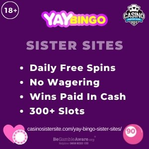 "Featured image for the sister sites article showing the brand's logo and the text: ""Daily Free Spins. No Wagering. Wins Paid in Cash. 300+ Slots"""