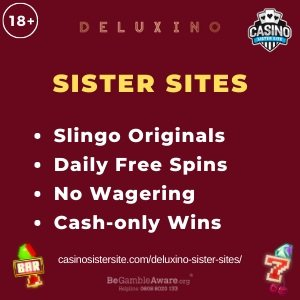 "Featured image for the Deluxino sister sites article showing the brand's logo and the text: ""Slingo Originals. Daily Free Spins. No Wagering. Cash-only Wins."""