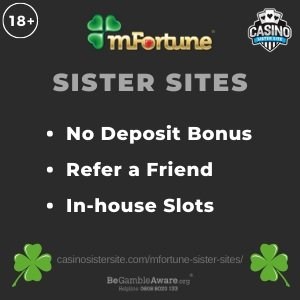 """Featured image for the Mfortune sister sites review showing the logo of the casino brand and the text: """"Mfortune sister sites. No deposit bonus, refer a friend, In-house slots."""""""