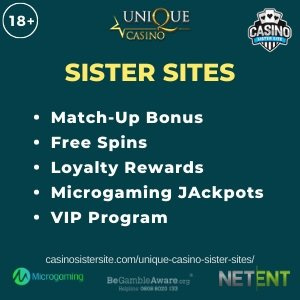 """Featured image for the Unique casino sister sites review showing the logo of the casino brand and the text: """"Unique sister sites. match-up bonus. free spins. loyalty rewards. microgaming jackpots. vip rewards."""""""