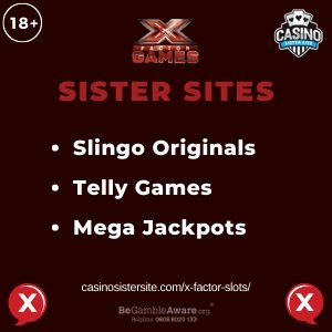 "Featured image for the X Factor Slots sister sites article showing the brand's logo and the text: ""Slingo Originals. Telly Games. Mega Jackpots."""
